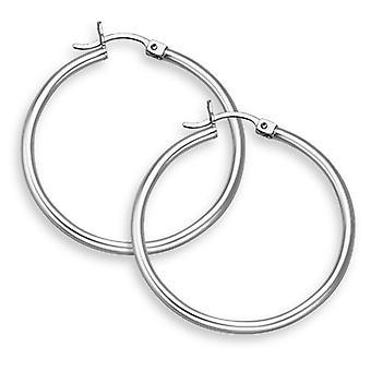 14K White Gold Hoop Earrings - 1 1/4
