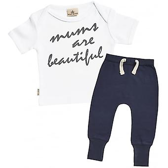 Spoilt Rotten Mum's Are Beautiful Baby T-Shirt & Navy Joggers Outfit Set