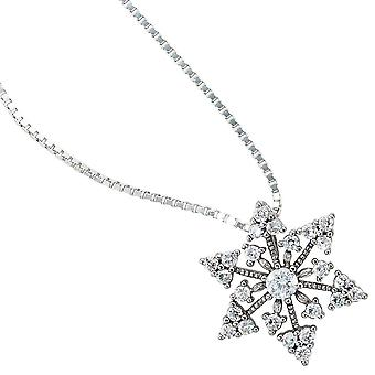 Pendant snowflake 925 sterling silver rhodium plated with cubic zirconia