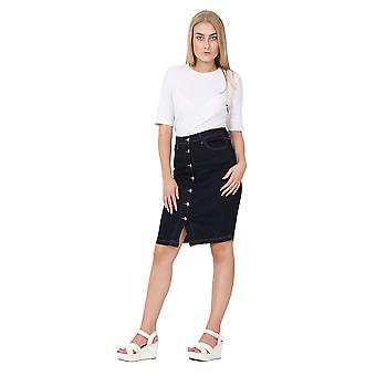 Knee-length Indigo Denim Skirt Button front Pencil skirt Denim Midi Skirt