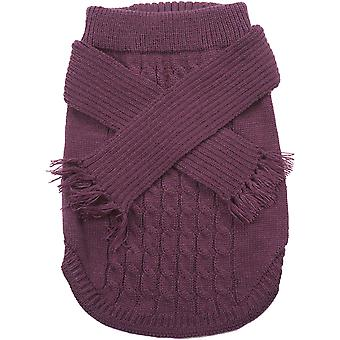 Dog Scarf Sweater-Plum Extra Small 651953