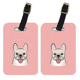 Coppia di Checkerboard rosa Bulldog francese bagagli Tag
