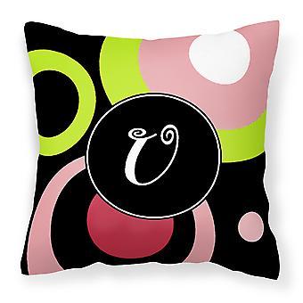 Letter U Monogram - Retro in Black Fabric Decorative Pillow