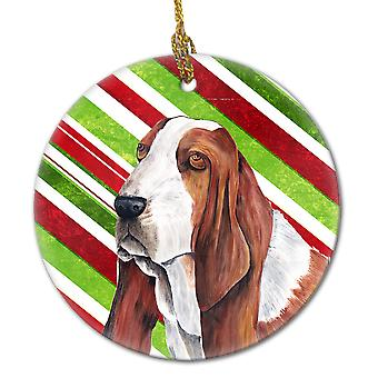 Basset Hound Candy Cane Holiday Christmas  Ceramic Ornament SC9332