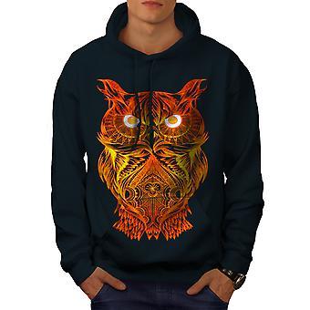 Night Owl On Fire Men NavyHoodie | Wellcoda