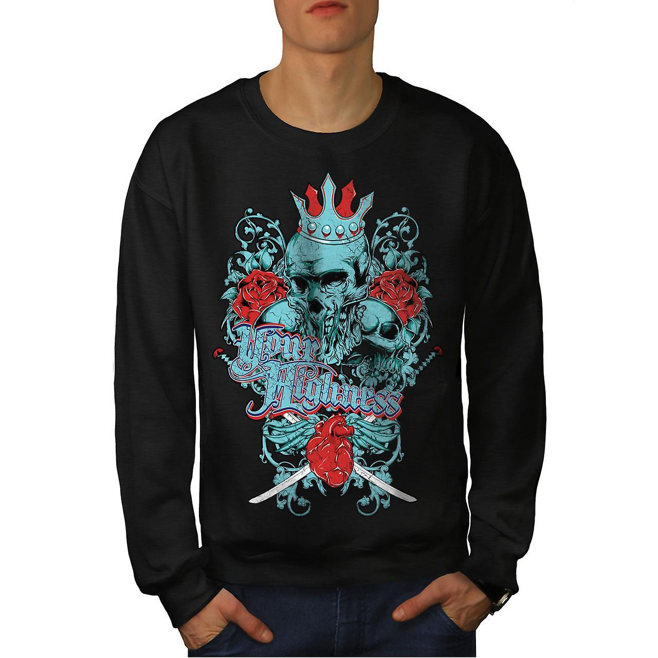 Uw Hoogheid koning schedel mannen-BlackSweatshirt | Wellcoda