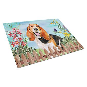 Carolines Treasures  CK1266LCB Basset Hound Spring Glass Cutting Board Large