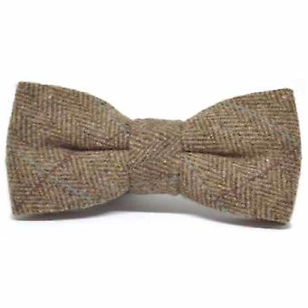 Luxury Herringbone Brown Tweed Bow Tie