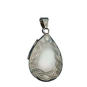 Silver 30x20mm Celtic engraved teardrop Locket