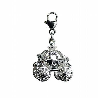 Silver 15x16mm moveable Cinderella coach Charm on a lobster trigger