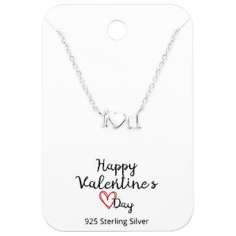 Collier «je t'aime» sur Happy Valentines Day Card - 925 argent Sterling Sets - W36096X