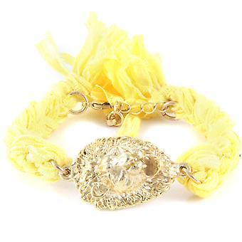 Ettika - Bracelet Yellow Gold Lion and cotton ribbons braided yellow