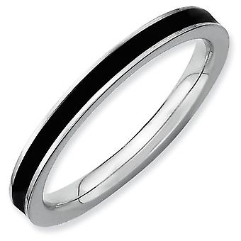 Sterling Silver Polished Rhodium-plated Stackable Expressions Black Enameled 2.25mm Ring - Ring Size: 5 to 10