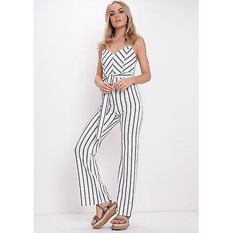 Streep-Tie taille wit Contrast Jumpsuit