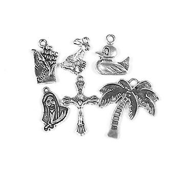 Packet 6 x Antique Silver Tibetan 17-28mm Easter Charm/Pendant Set ZX16620