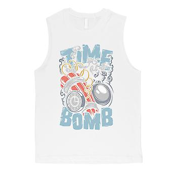 Time Bomb Mens White Muscle Shirt