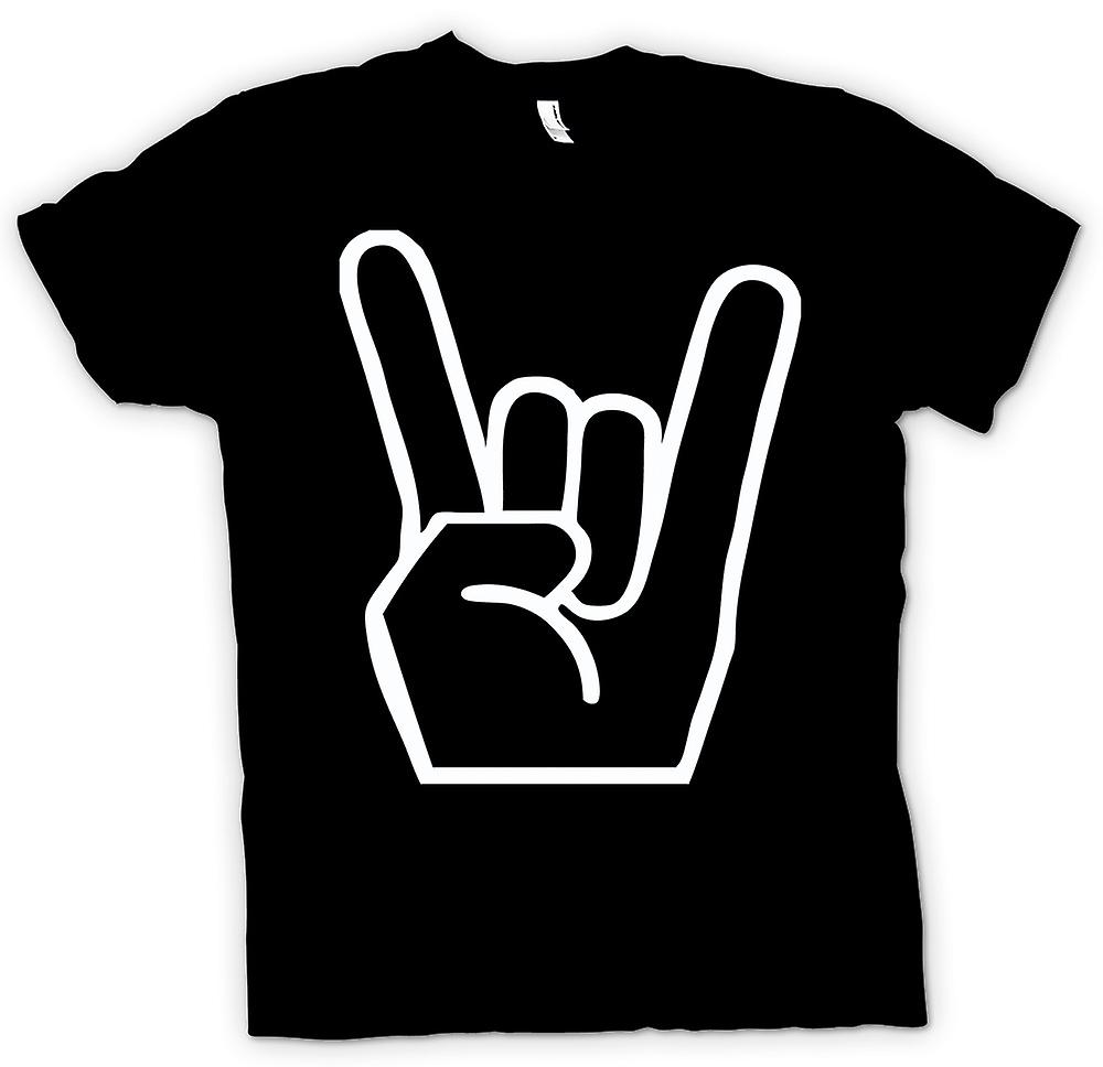 Mens T-shirt-Metall Finger Zeichen