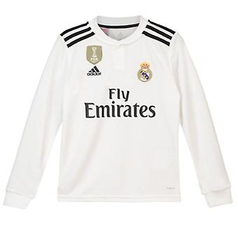 2018-2019 real Madrid Adidas Accueil chemise à manches longues (Kids)