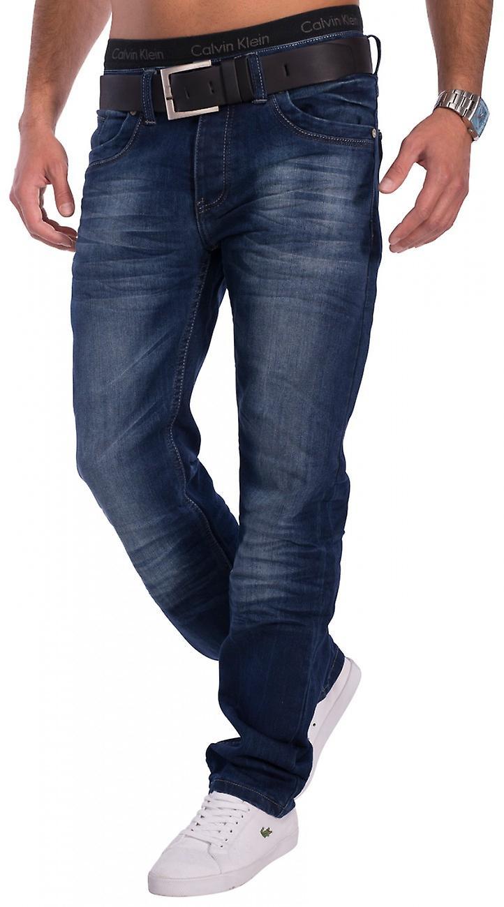 Men's Jeans Dark Blue Regular Fit Denim stonewashed Straight Leg