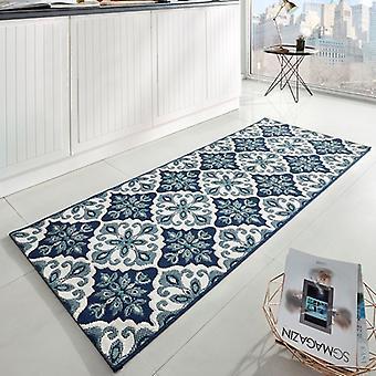 Kitchen runner flat fabric runner Jewel Blau 80 x 200 cm