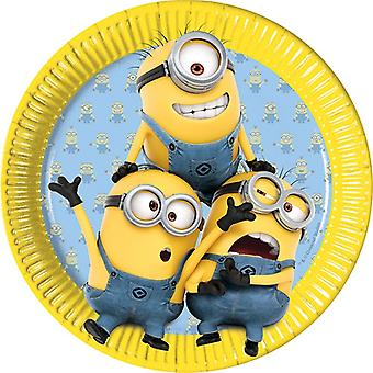 Plate party platter plate minions kids party birthday 23 cm diameter 8 pieces
