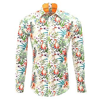 Claudio Lugli Tropical Flower Print Mens Shirt