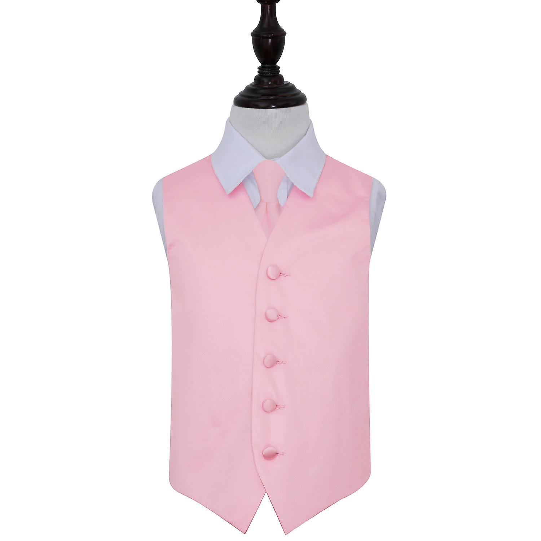 Baby Pink Plain Satin Wedding Waistcoat & Tie Set for Boys