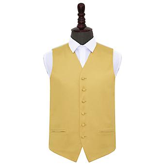 Gold Plain Satin Wedding Waistcoat