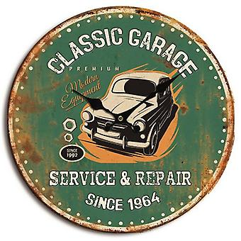 Retro wall clock Classic Garage green.