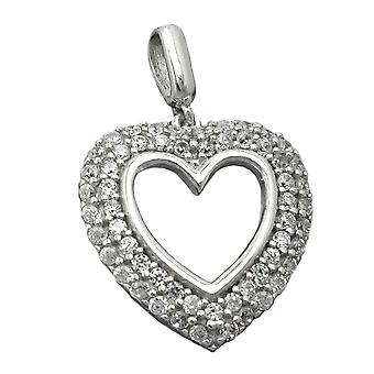 Glitter heart pendant silver heart pendant with cubic zirconia rhodium-plated Silver 925