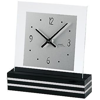 Quarzuhr Tischuhr Quarz schwarz lackierter Holzsockel mit Aluminium-Applikation