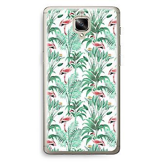 OnePlus 3T Transparent Case (Soft) - Flamingo leaves