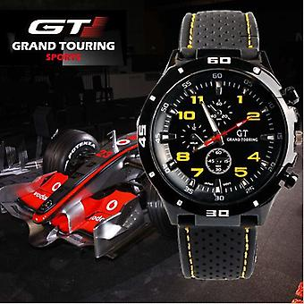 Men Analogue Sports GT Watch Black White and Yellow