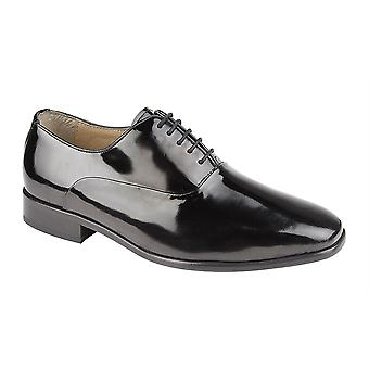 Mens Patent Coated Leather Upper Leather Sole Lace Up Oxford Formal Dress Shoes