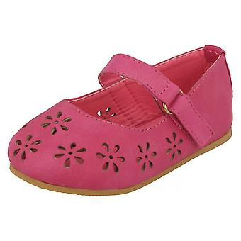 Girls Spot On Ballerina Style Shoe with Single Strap and Flower Cut Outs