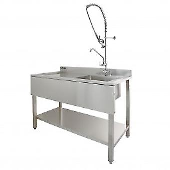 KuKoo Commercial Sink & Pre-Rinse Tap - Left Hand Drainer