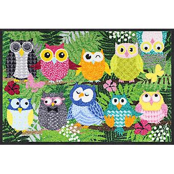 Salon lion jungle chouettes 50 x 75 cm mat lavable saleté mat