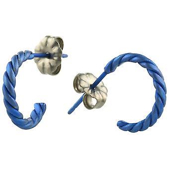 Ti2 titânio pequeno torcido brincos de argola - azul marinho