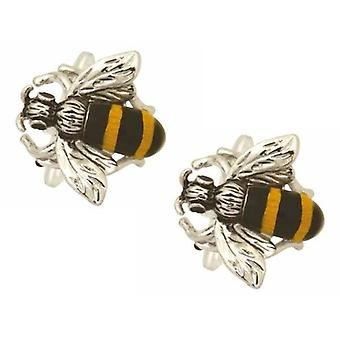 Zennor Bee Cufflinks - Black/Gold