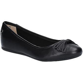 Hush Puppies Womens Heather Bow Flat Leather Ballet Shoes