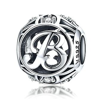 871059484 Sterling silver alphabet charm with zirconia stones letter B