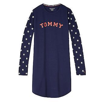 Tommy Hilfiger Girls Cotton Iconic Long Sleeve Dress - Navy