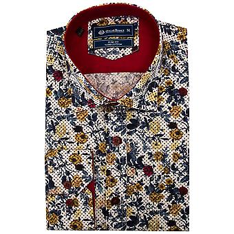 Oscar Banks Rose Print Mens Shirt