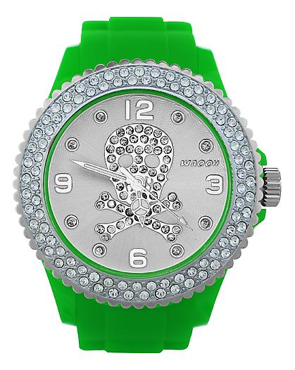 Waooh - FC38 Watch with White Dial Rhinestone Death Head