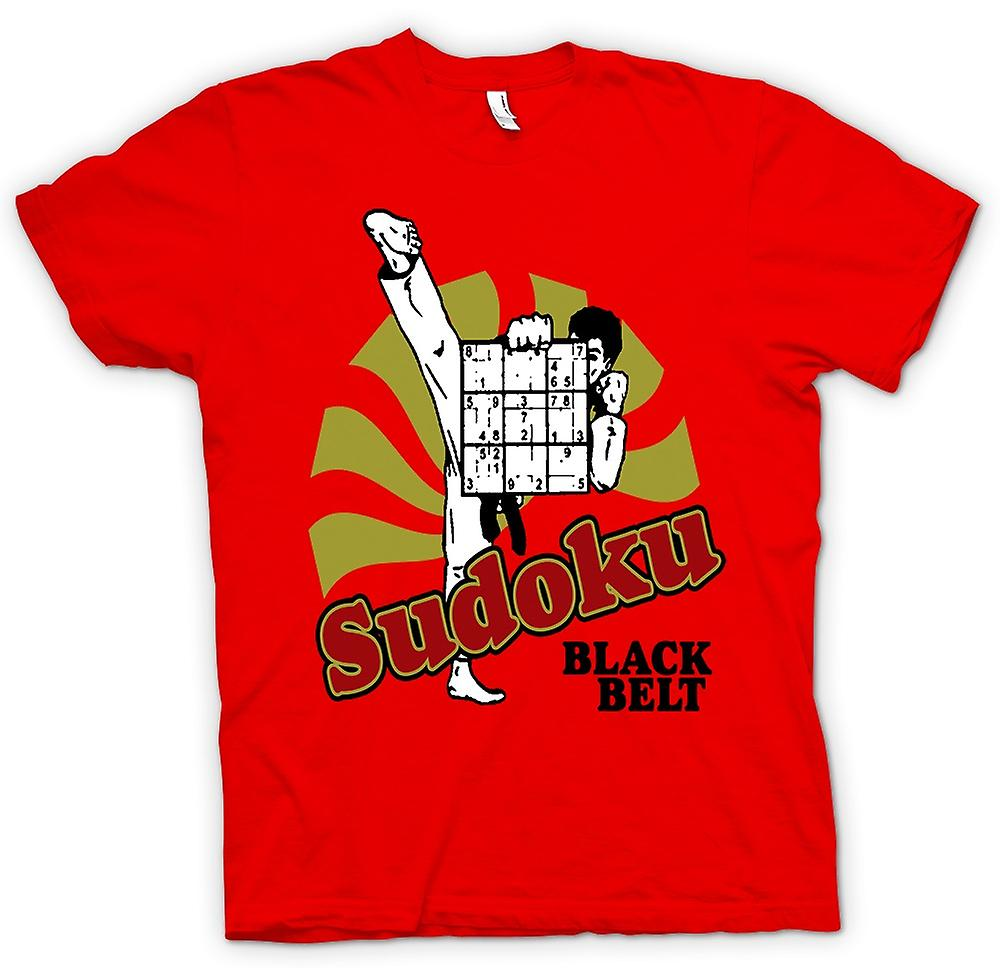 Heren T-shirt - Sudoku zwarte band Karate - Funny