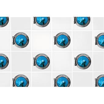 Full Colour Set of 4 Dolphin Porthole 6