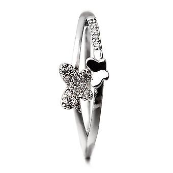 Butterfly plate Rhodium and Cubic Zirconia white ring