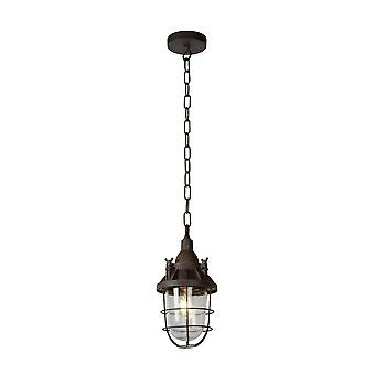 Lucide Honore Industrial Round Metal Rust Brown Pendant Light