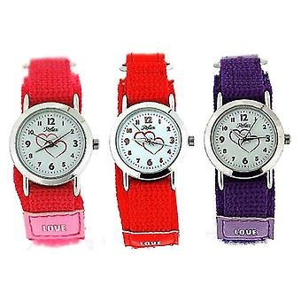 Set Of 3 Reflex Girls Red / Pink / Purple Easy Fasten Fabric Watch Gift For Kid