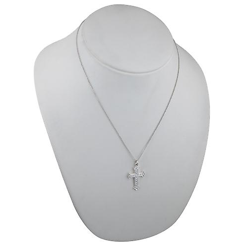 Silver 30x22mm Fancy embossed pattern Cross with a curb chain